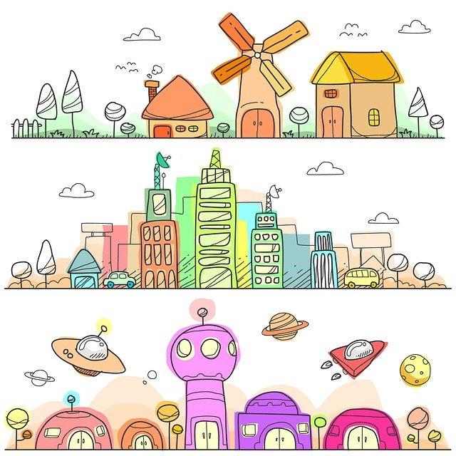 město a budovy